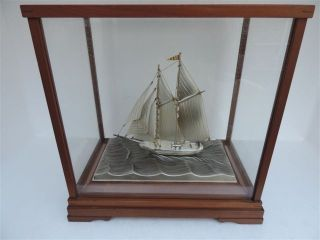 Finest Vintage Signed Japanese 2 Masted Sterling Silver Model Ship By Seki Japan photo
