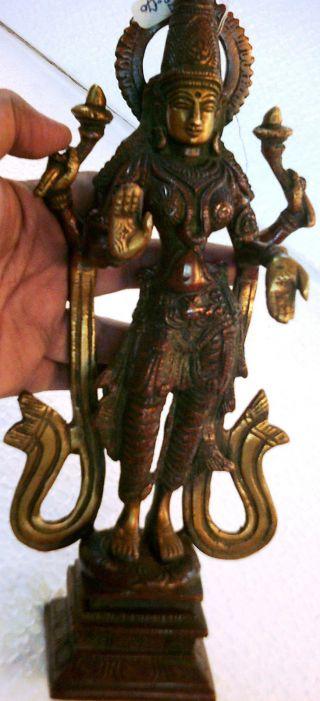 Traditional Laxmi Lakshmi Meenakshi Hindu Goddess For Wealth Standing Brass photo