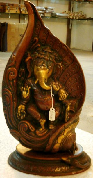 Shankh Ganesh Ganesha Shaped Like A Conch Very Detailed Brass Statue Artifact photo