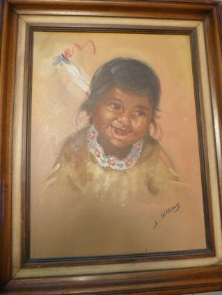 Amazing Oil Canvas Painting Indian Native American Child William Y 16