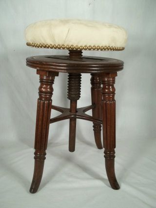 Antique 19th Century Sheraton Reeded Leg Piano Stool photo
