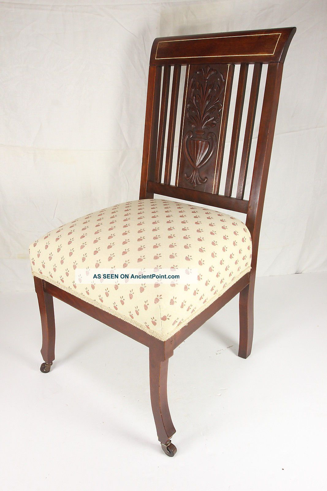 Vtg Carved Wooden Parlor Dining Room Chair Strawberry Upholstery 1900 . Full resolution  portraiture, nominally Width 1067 Height 1600 pixels, portraiture with #46281F.