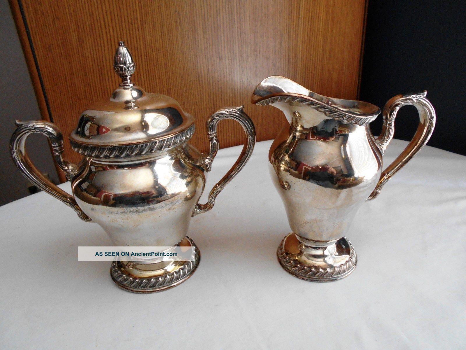 Vintage Wilcox International Silverplated Creamer Pitcher & Sugar Bowl Creamers & Sugar Bowls photo