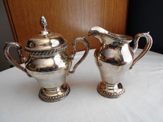 Vintage Wilcox International Silverplated Creamer Pitcher & Sugar Bowl photo