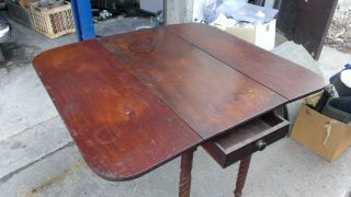 Early American Period Antique Cherry Drop Leaf Pembroke Table C 1820 Twirl Legs photo