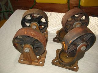 4 Antique Matching Nos Cast Iron Industrial Caster Cart Wheels photo
