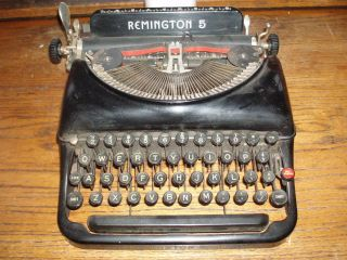 Rare Vintage Antique 1935 - 38 Remington Rand 5 Portable Black Typewriter V841273 photo