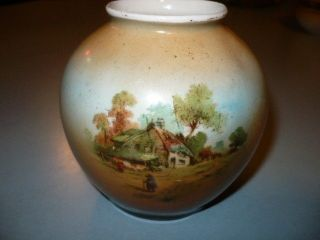 Antique Austria Porcelain Vase Hand Painted Scene Of Cottage House photo