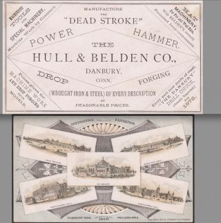 1876 Expo Hull & Belden Danbury Steel Tool Machinery Hat Philadelphia Trade Card photo