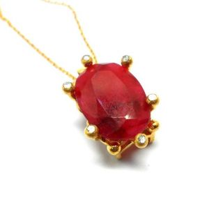 Rose Cut Diamond And Ruby Gold Plated Turkish Jewelry Pendant photo