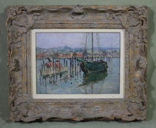 Small Authentic Harry S Mintz Modernist Impressionist Seascape Boat Oil Painting photo
