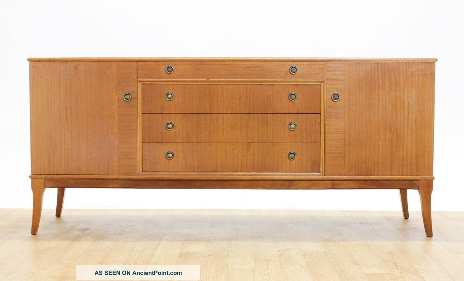 Mid Century 6ft Splayed Leg Credenza/media Cabinet.  Oak Veneer By Beithcraft. Post-1950 photo