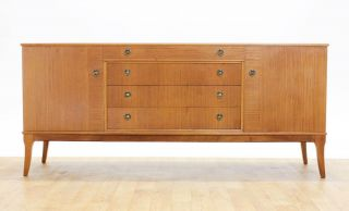 Mid Century 6ft Splayed Leg Credenza/media Cabinet.  Oak Veneer By Beithcraft. photo