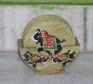 Soapstone Painted Coaster Set photo
