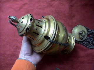 Marvelous Antique Church Thurible Incense Burner And Incense Boat,  Ca.  1850 Ad. photo