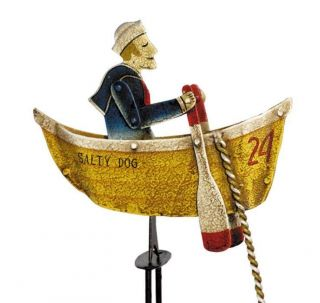 Nautical Sky Hook Tin Metal Balance Toy Salty Dog Rowing Sailor photo