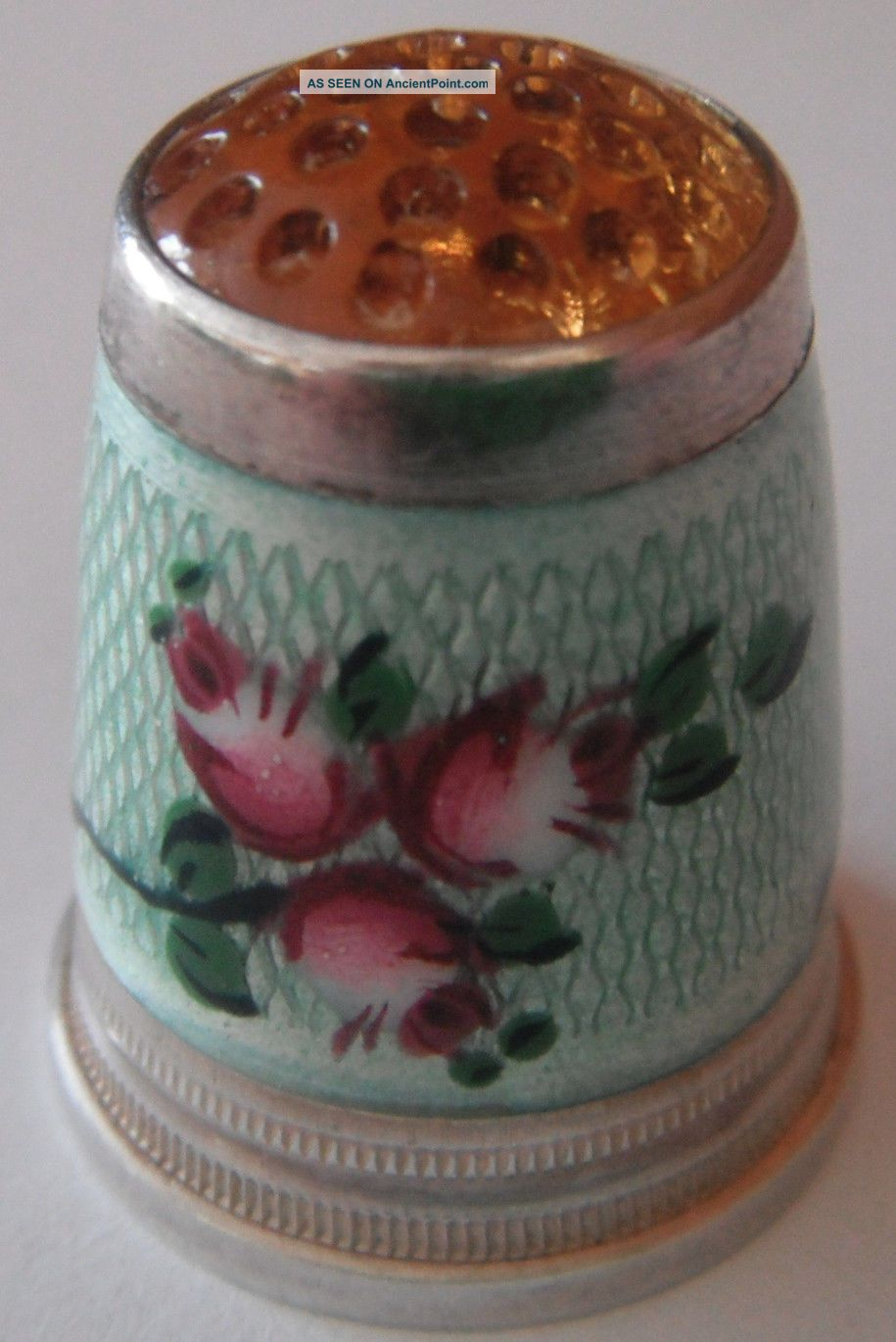 Antique 935 Sterling Silver Thimble Size 6 Enamel With Roses And Amber Top Thimbles photo