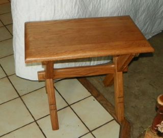 Solid Oak Ranch Oak Buck Saw End Table / Side Table (t387) photo