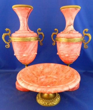 Marble Garniture Set Ormolu Bronze Mounts Urns Centre Piece Red Coral Colour photo