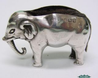 Novelty Sterling Silver Elephant Pin Cushion Birmingham England 1907 photo