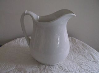Antique White Ceramic Pitcher Vitreous China 1930 ' S Perfect photo