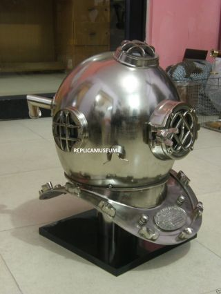 Buy - Marine Diver ' S Diving Helmet Chrome Finish - Diver Helmet On Base photo