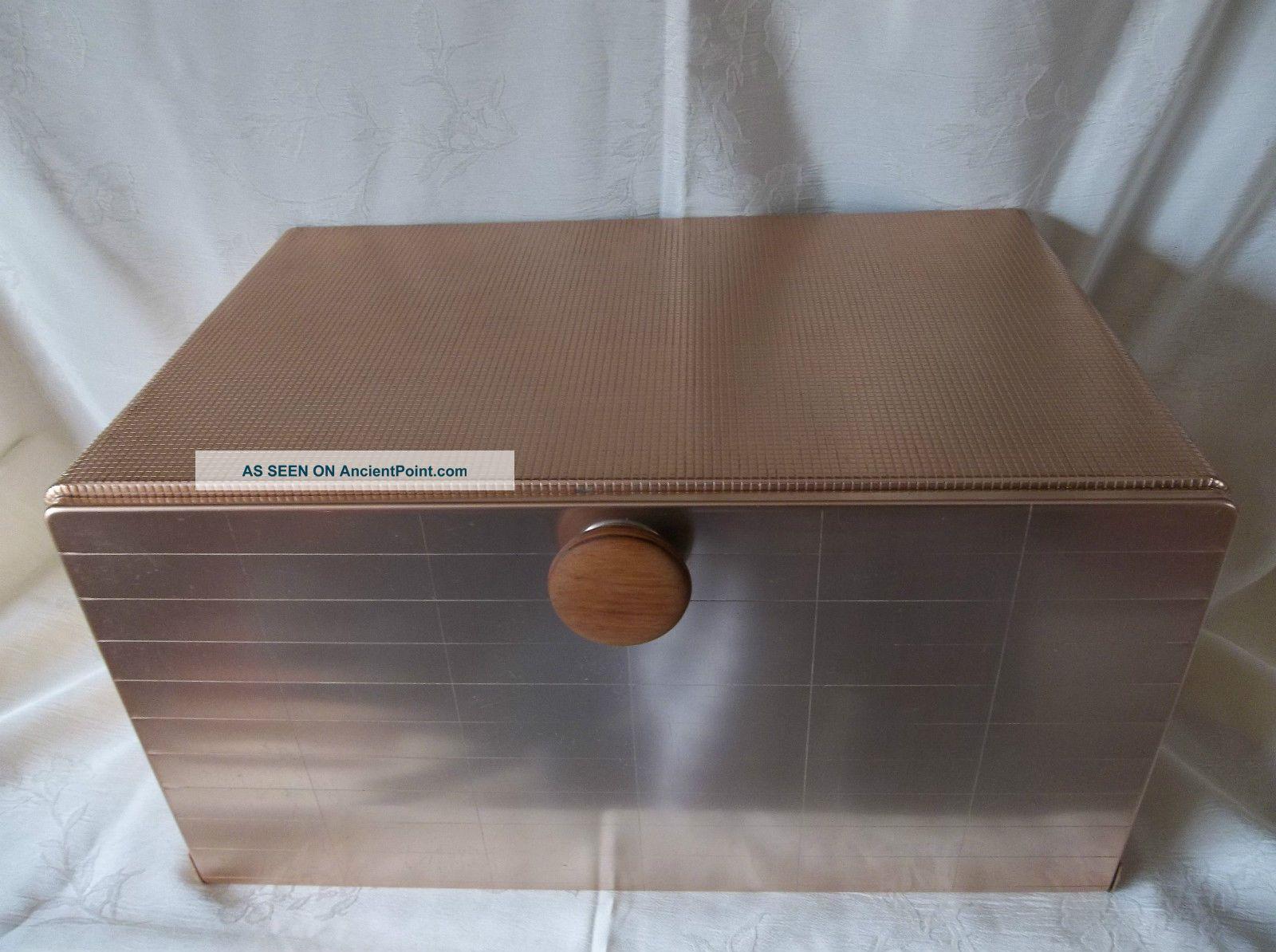 Mirro Bread Box Mid Century Modern Pink Aluminum Art Deco, Kitchen