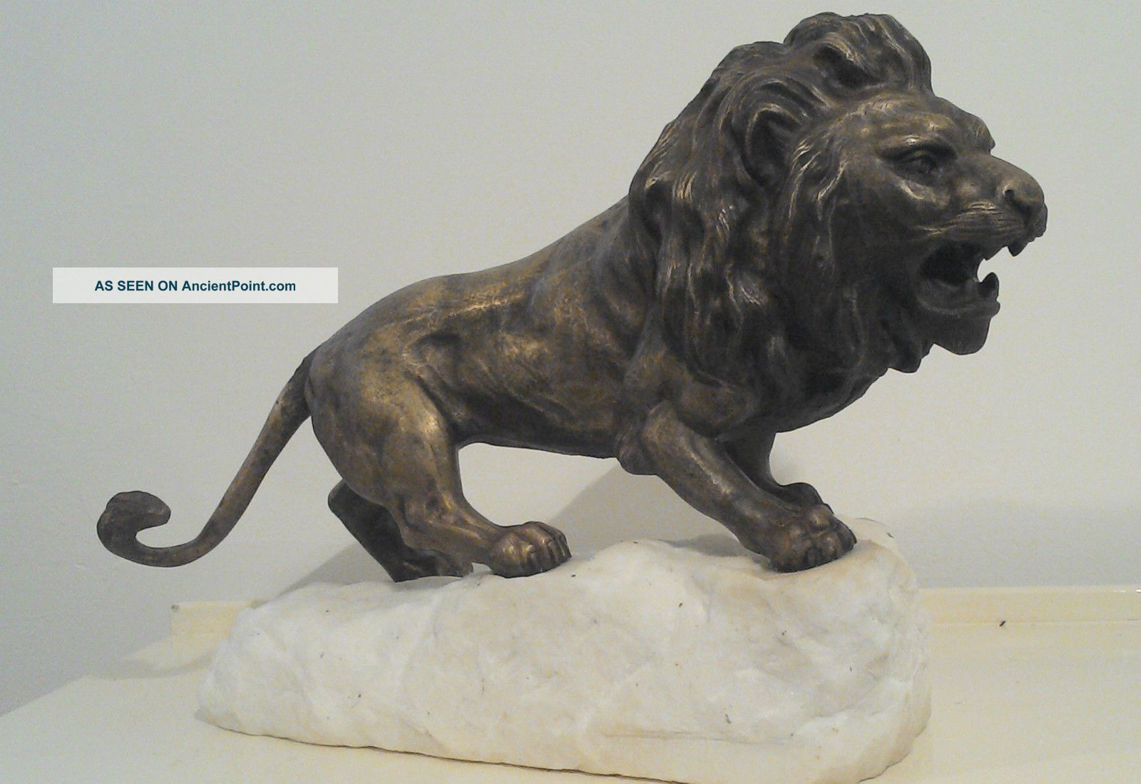 Sculpture Bronze Animal Statue Roaring Lion James Andrey Signed Front Stamped Uncategorized photo
