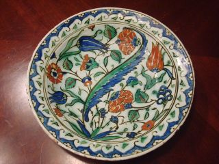 Antique Iznik Pottery Enameled Plate,  12 1/4