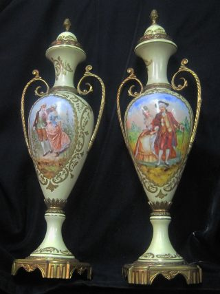 French Porcelain Urns.  Circa 1890. photo