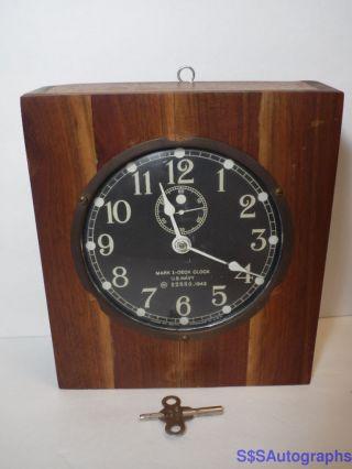 Vintage Works 1943 Seth Thomas Mark I Deck Ship Clock U.  S.  Navy Wwii World War 2 photo