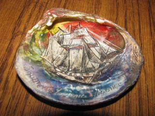 Antique Carved & Painted Scrimshaw Style Clam Shell Square Rig Top Sail Schooner photo