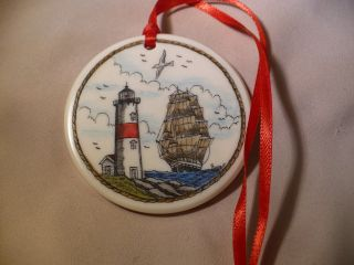 Scrimshaw Resin Christmas Ornament Ship/ Lighthouse photo