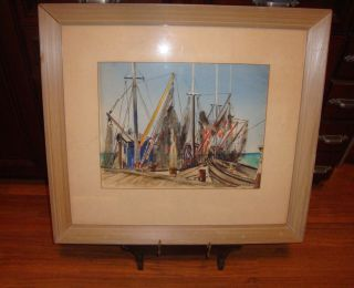 Vintage Nautical Seascape Watercolor By Listed Artist Marjorie B.  Luhrs photo