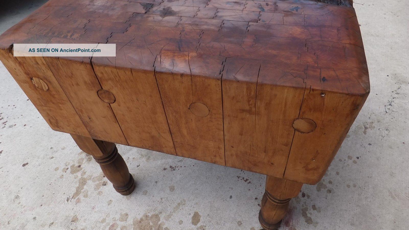 Le Gourmand Butcher Block Table ... Antique vintage butcher block table. on antique asian furniture chairs