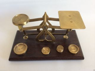 Vintage Warranted Accurate England Wood & Brass Scale W Weights photo