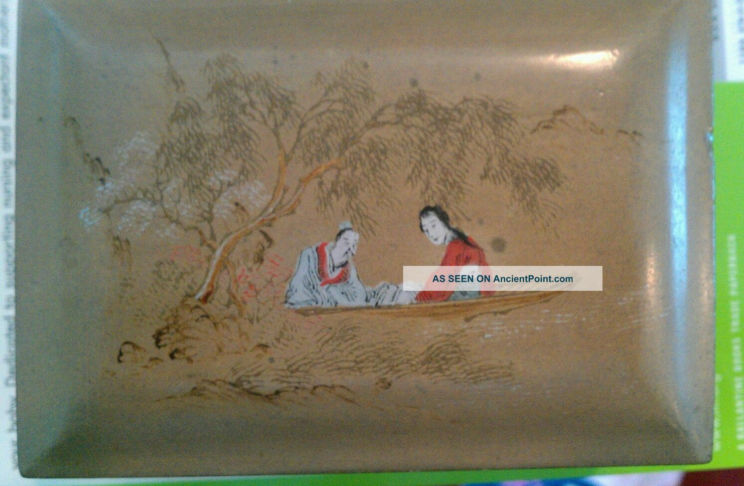 Vintage Chinese Gold Lacquer Box With Landscape Painting. Boxes photo