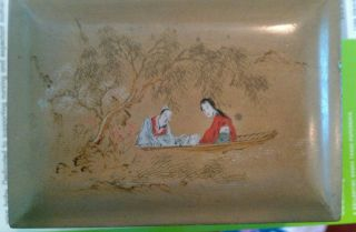 Vintage Chinese Gold Lacquer Box With Landscape Painting. photo