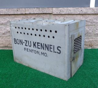 Industrial Machine Age Vtg Metal Dog Crate Carrier Bon - Ju Kennels Fenton Mo photo