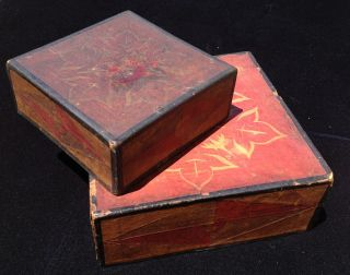 Group Of 2 Korean Stacking Paper Boxes,  Folk Art Hanjun,  Colored Cut Paper photo