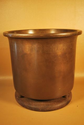 Antique Japanese Brass Hibachi / Ikebana / Flower Vase photo