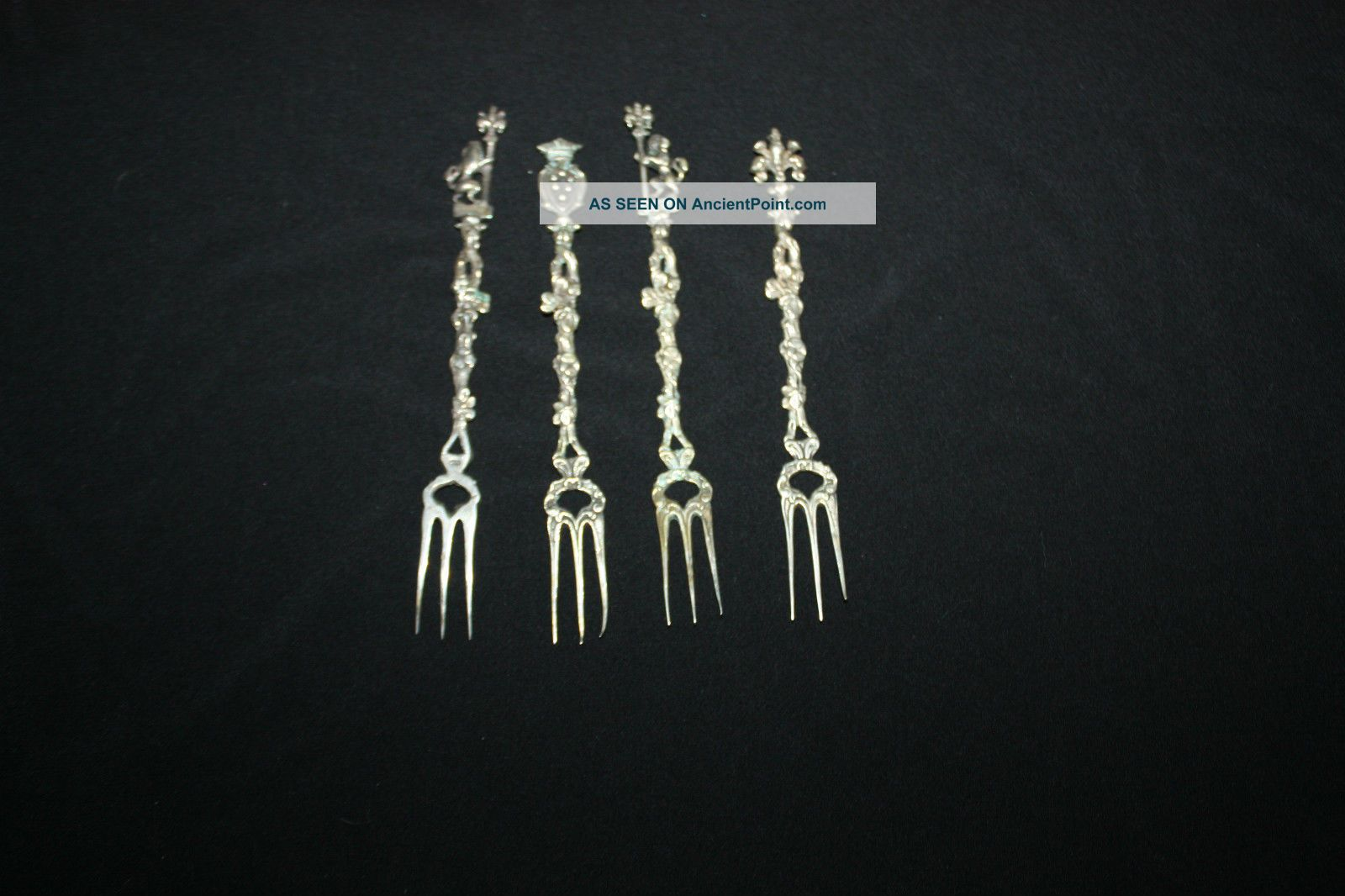 4 Vintage Firenze Highly Decorated Cocktail Spoons 800 Silver Silver Alloys (.800-.899) photo