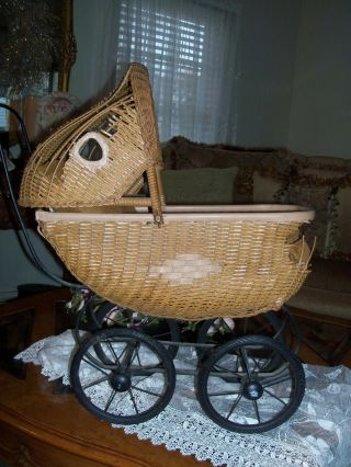 Whitney Carraige Co.  Antique Victorian Wicker Doll Coach / Buggy - photo