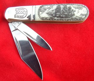Scrimshaw By Shar,  Ship & Whales,  Barlow,  2 Blade Folding Knife/knives photo