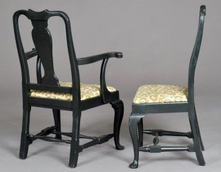 Rare Set Eight 8 Queen Anne Antique Vintage Side Dining Arm Chairs Room Armchair photo
