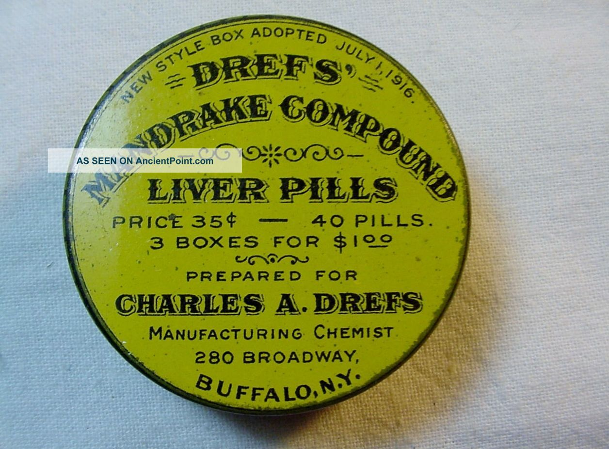 Wwi Era Circular Drefs Mandrake Compound Liver Pills Litho Tin Container Buffalo Other photo