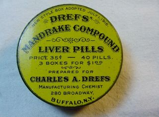 Wwi Era Circular Drefs Mandrake Compound Liver Pills Litho Tin Container Buffalo photo