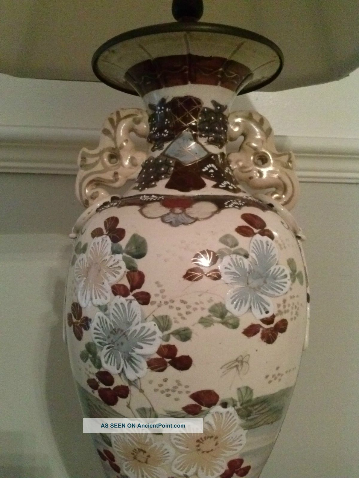 Antique porcelain japanese vase lamp geisha seahorse handles antique porcelain japanese vase lamp geisha seahorse handles moriage handpainted reviewsmspy