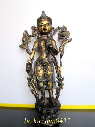 Tibetan Buddhist Green Tara Bronze Buddha Statue photo