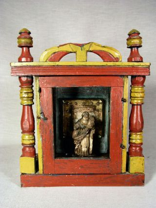 Vintage Mexican Wood Nicho/box/shrine With Statue,  Christian photo